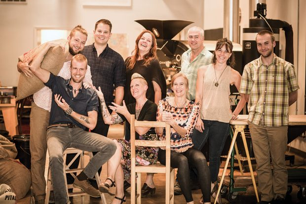 Members of the Mudhouse team. Seated (from left) are Nick Cardoni, Pinky Swiderski and Jennifer Tidwell; standing (from left) are Eric Stone, Phil Hobbes, Lynelle Lawrence, John Lawrence, Whitney Phaup and George Patterson. | Photo by Jack Looney/