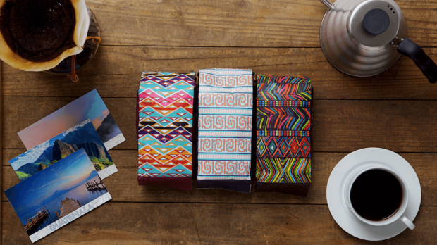 Atlas Coffee Club packaging, with patterns representing each country of origin, and no Atlas brand name on the front.