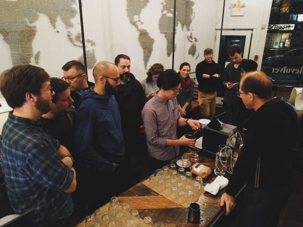 Decent Espresso creator John Buckman leading a demo. All images courtesy of Decent Espresso.