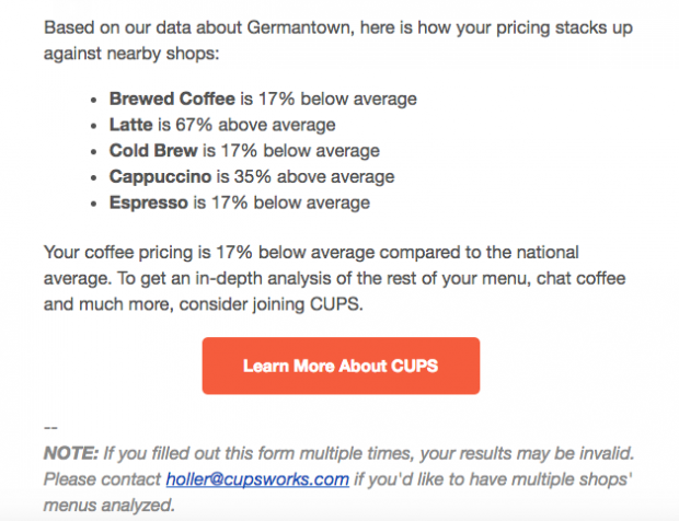 Cups Menu Analyzer screenshot.