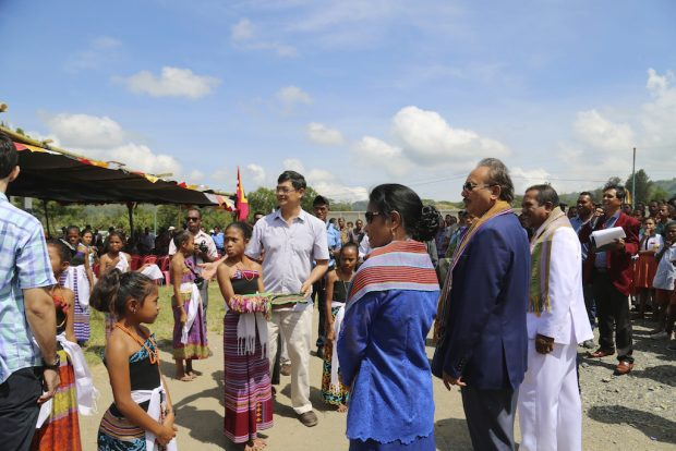 At the opening ceremonies in Gleno, outside of Dili.