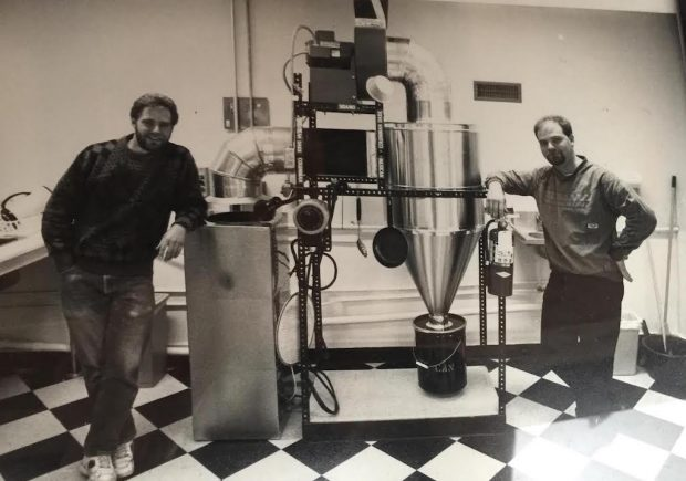 The Arens brothers in the early days of Leelanau Coffee Roasting Co.