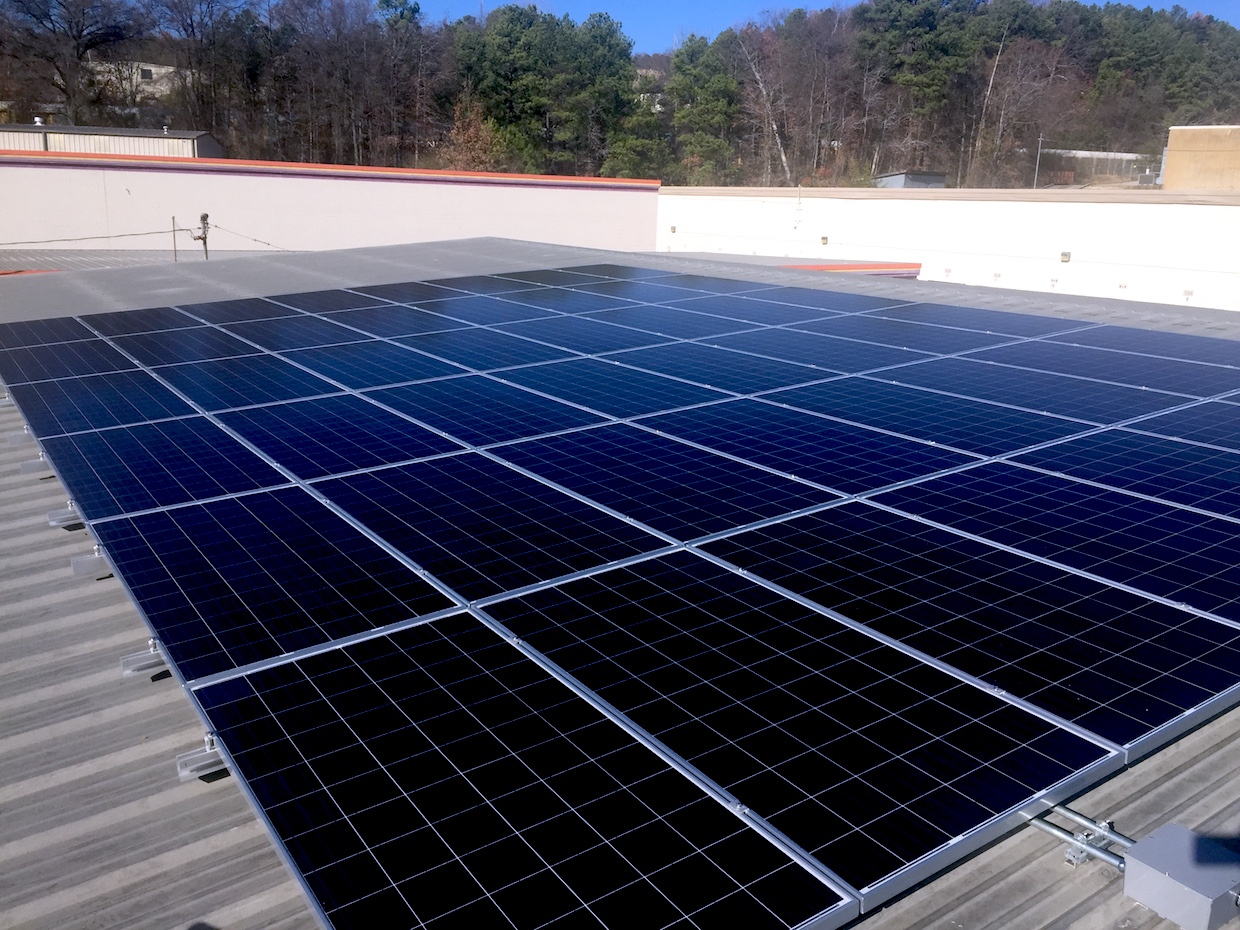 The solar array at OHenry's Coffees in Birmingham, Ala.