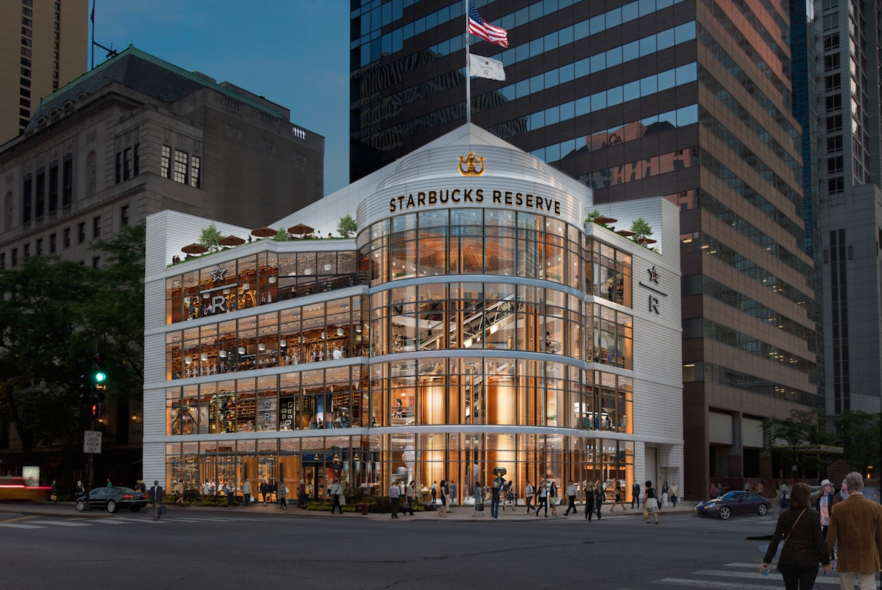 Rendering of the proposed Chicago Reserve Roastery, courtesy of Starbucks Coffee Company.