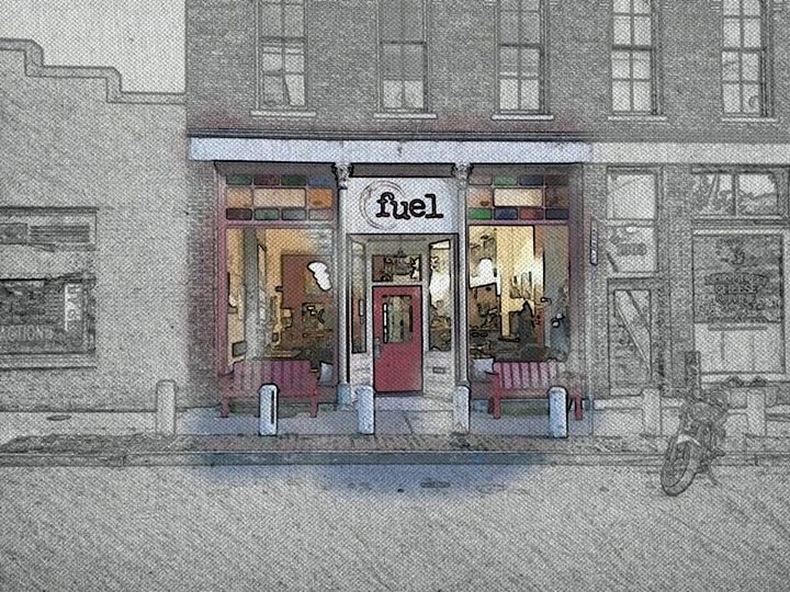 A watercolor of the Fuel café