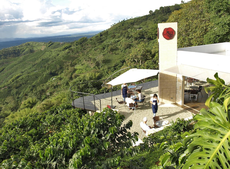 The café built into the coffee farm.
