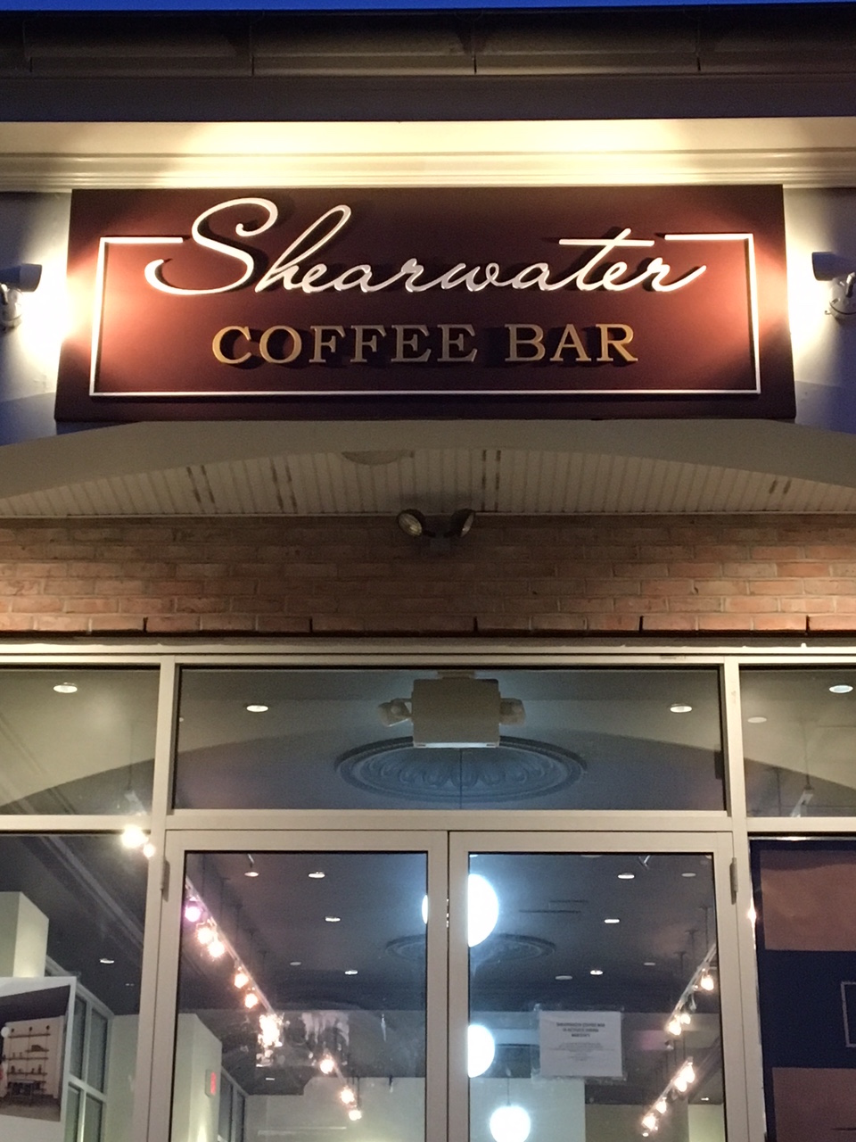 The front of the first Shearwater Coffee Bar, opening in Fairfield, Conn.