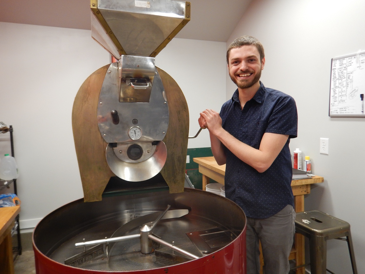 Patrick Boes at the roaster. All images courtesy of Hummingbird Coffee Roasters.