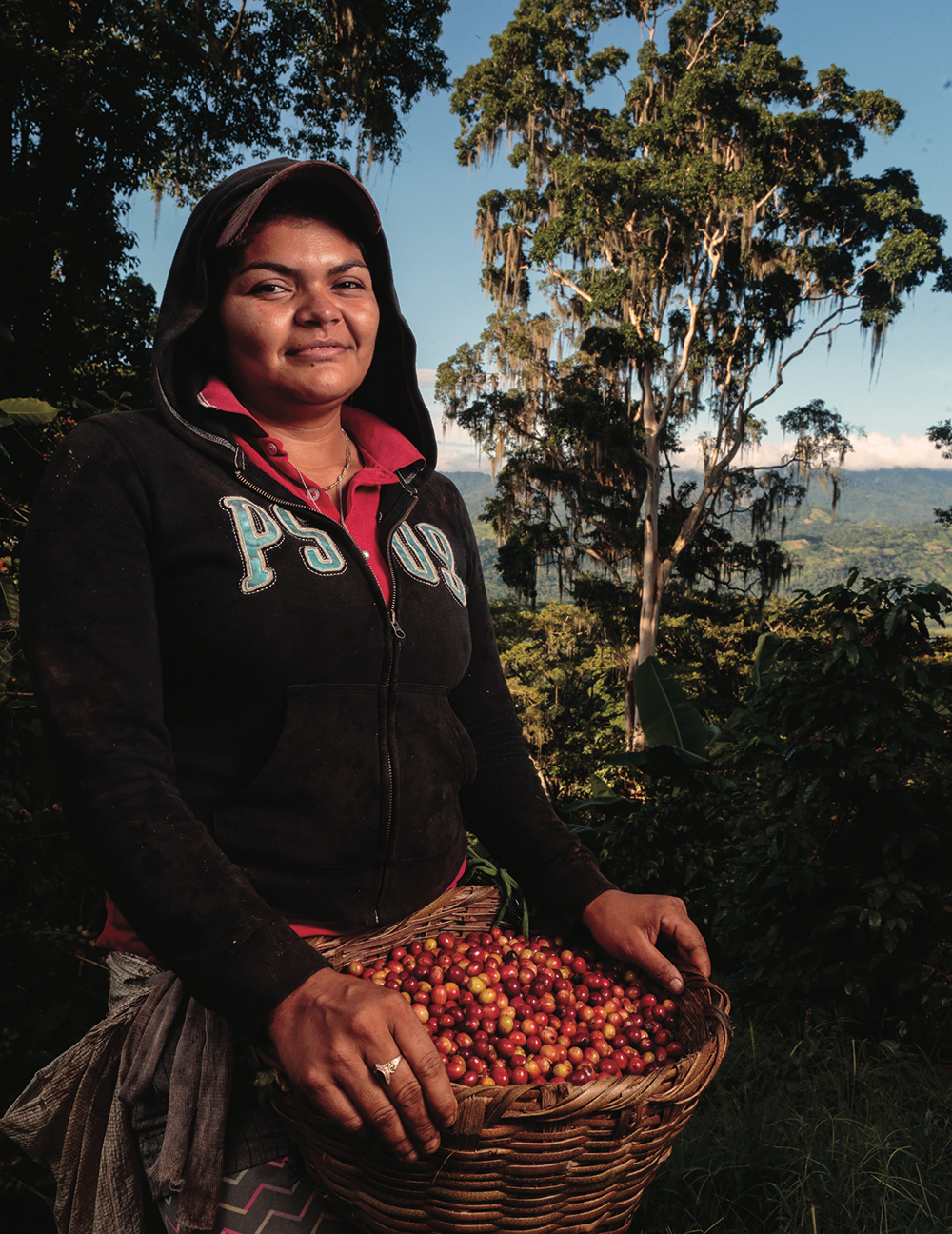 "Eddita Esmilda Meza Torres, 26, is a permanent worker at Finca La Revancha coffee estate in Matagalpa, Nicaragua, where she has worked for eight years. ""Things have changed a lot,"" she says. ""When I got pregnant, they paid me even when I was not working. Workers have food, old people have food assistance, and they have helped us repair our houses."" La Revancha is one of the few coffee estates in Latin America certified by Fair Trade USA."