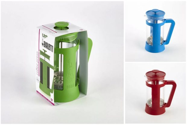 Bialetti coffee presses being recalled have been sold in plastic frames in black, blue, green and red.