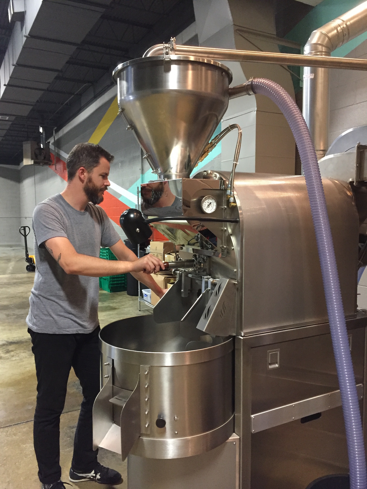 Evan Howe at the new Loring Falcon roaster.