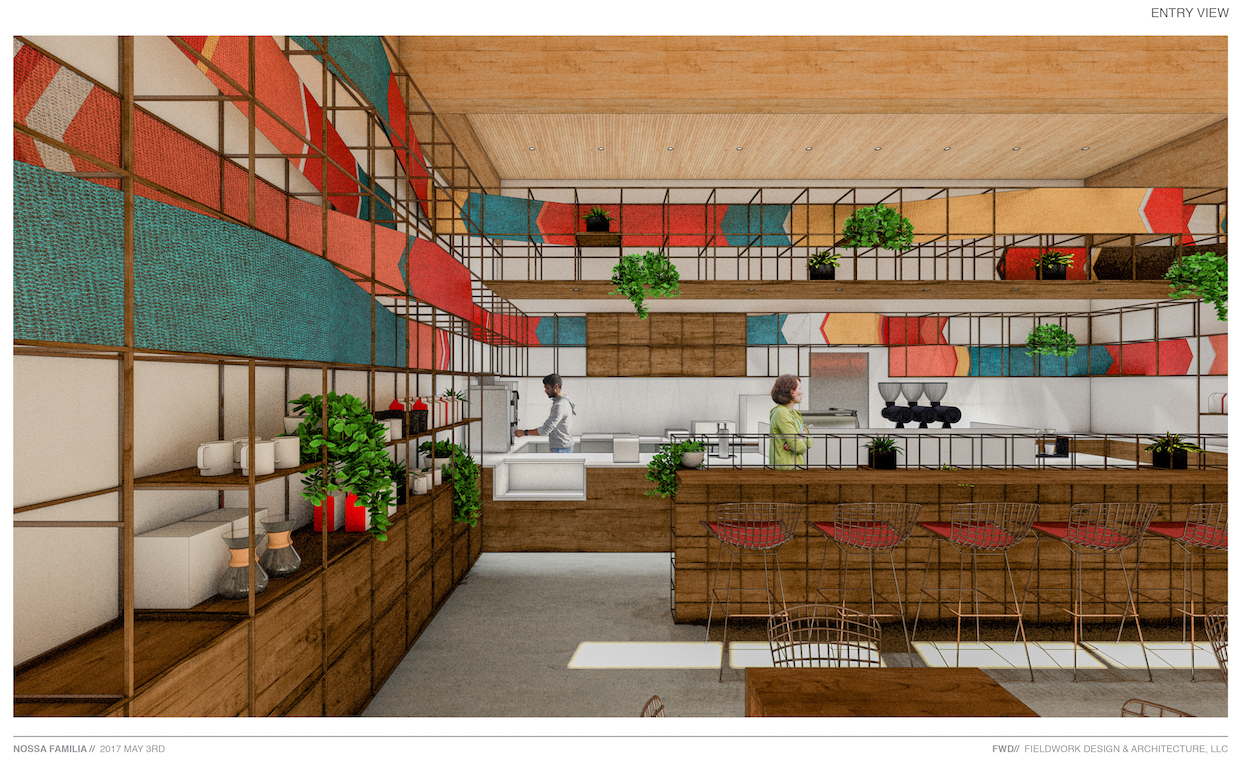 Rendering of new Guatemala-themed shop in the Clay Creative building.