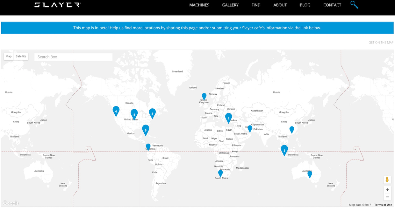 Screenshot of the Slayer interactive map.