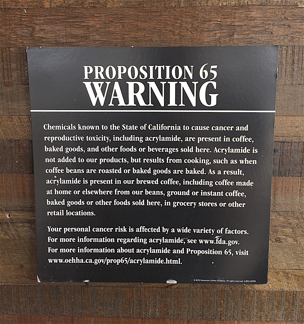 Prop 65 Starbucks coffee cancer warning