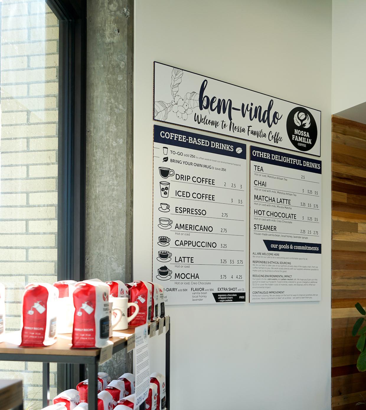 Nossa Familia coffee portland or menu