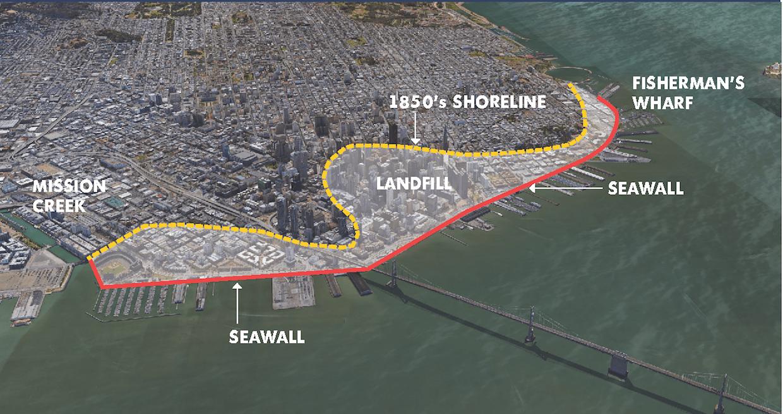 Embarcadero seawall San Francisco