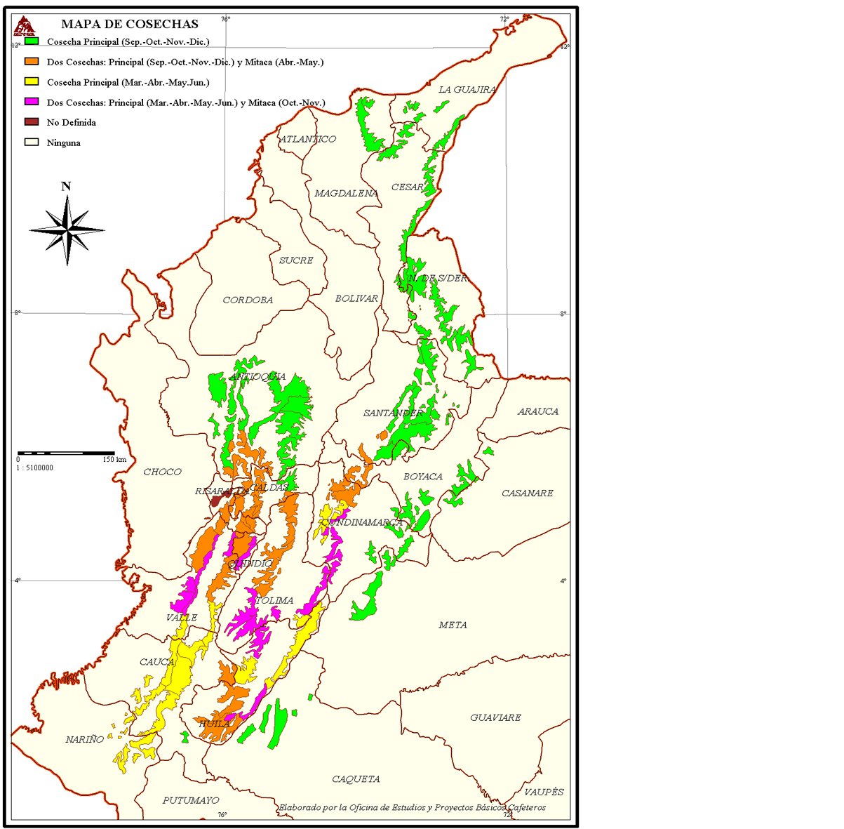 FNC Colombia Coffee Harvest Map