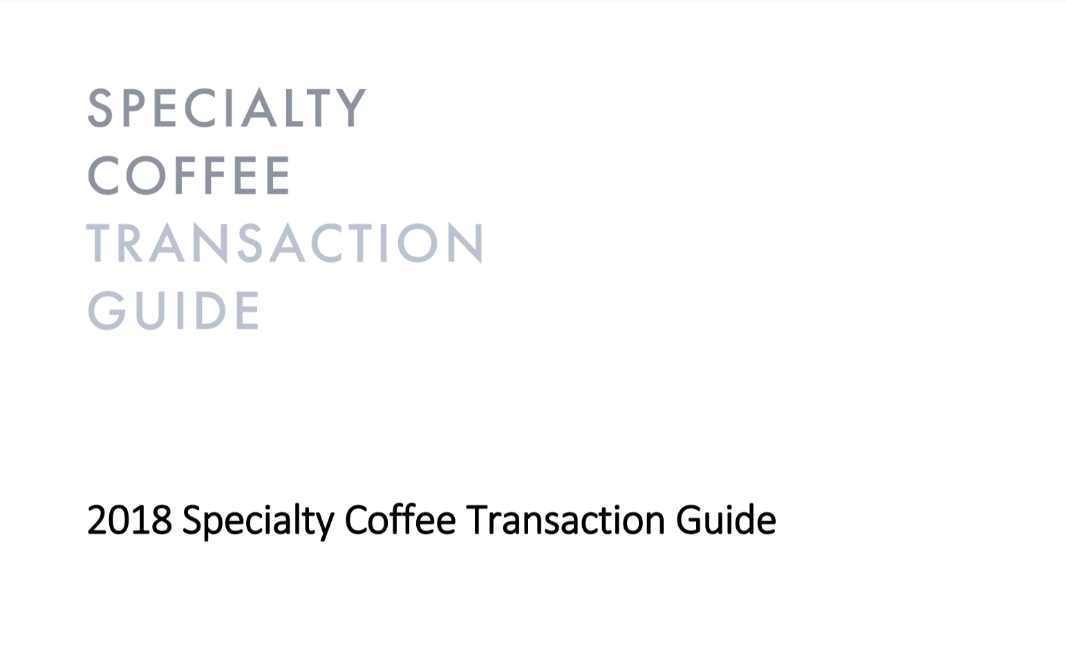 specialty coffee transaction guide