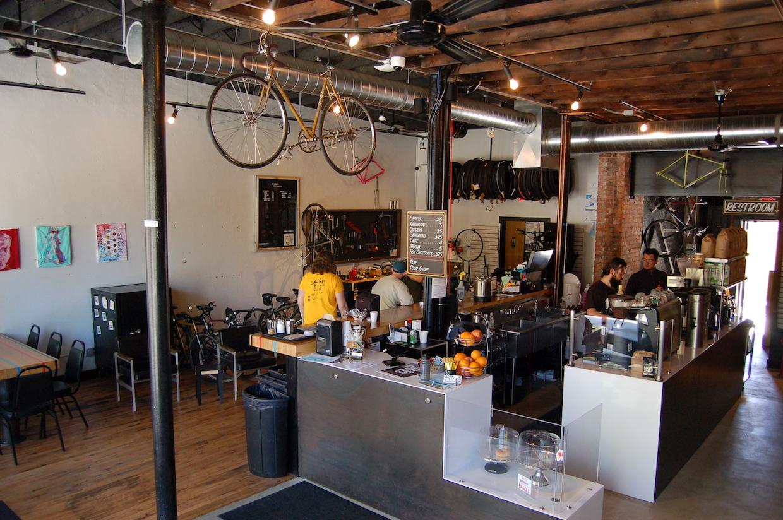 Looking at coffee bar and bikes