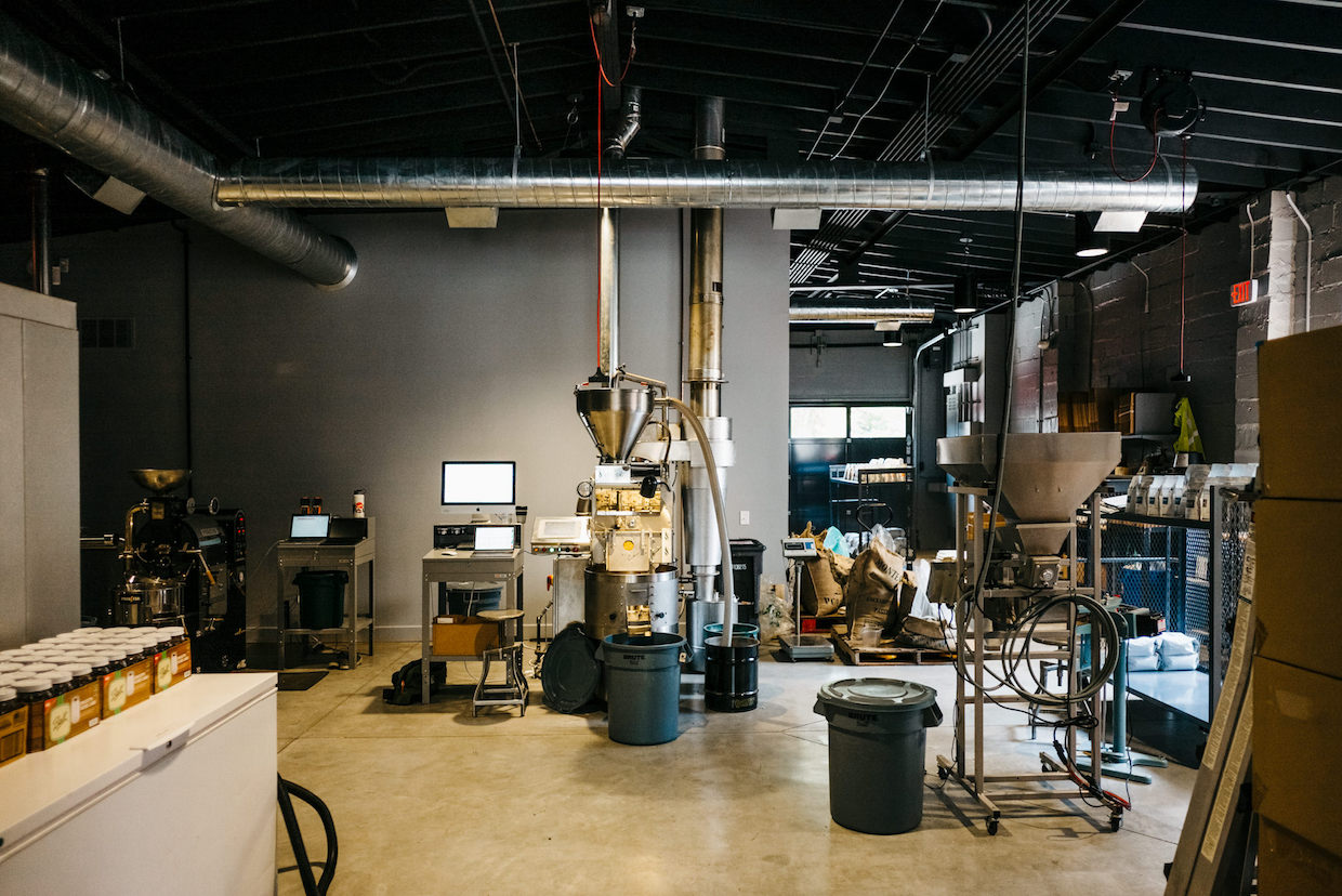 inside coffee roastery