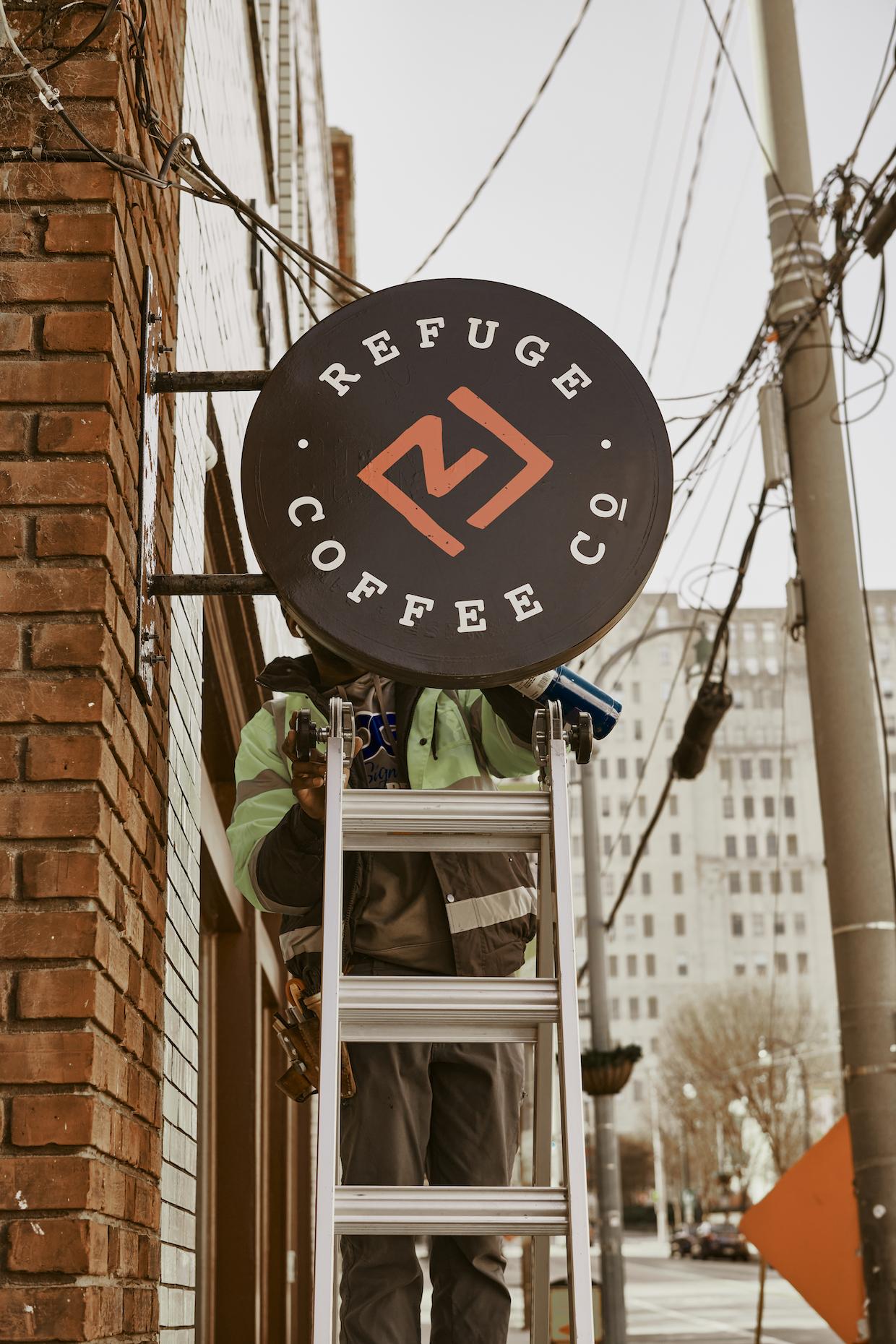 Refuge Coffee sign