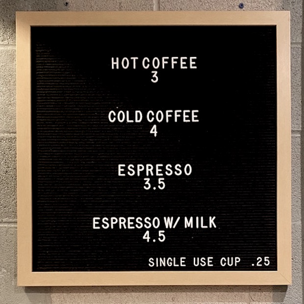 Ninth Street Espresso menu