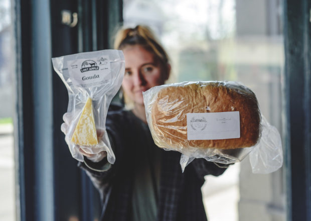 grocery items with Ghostlight barista – photo credit Abby Hofrichter