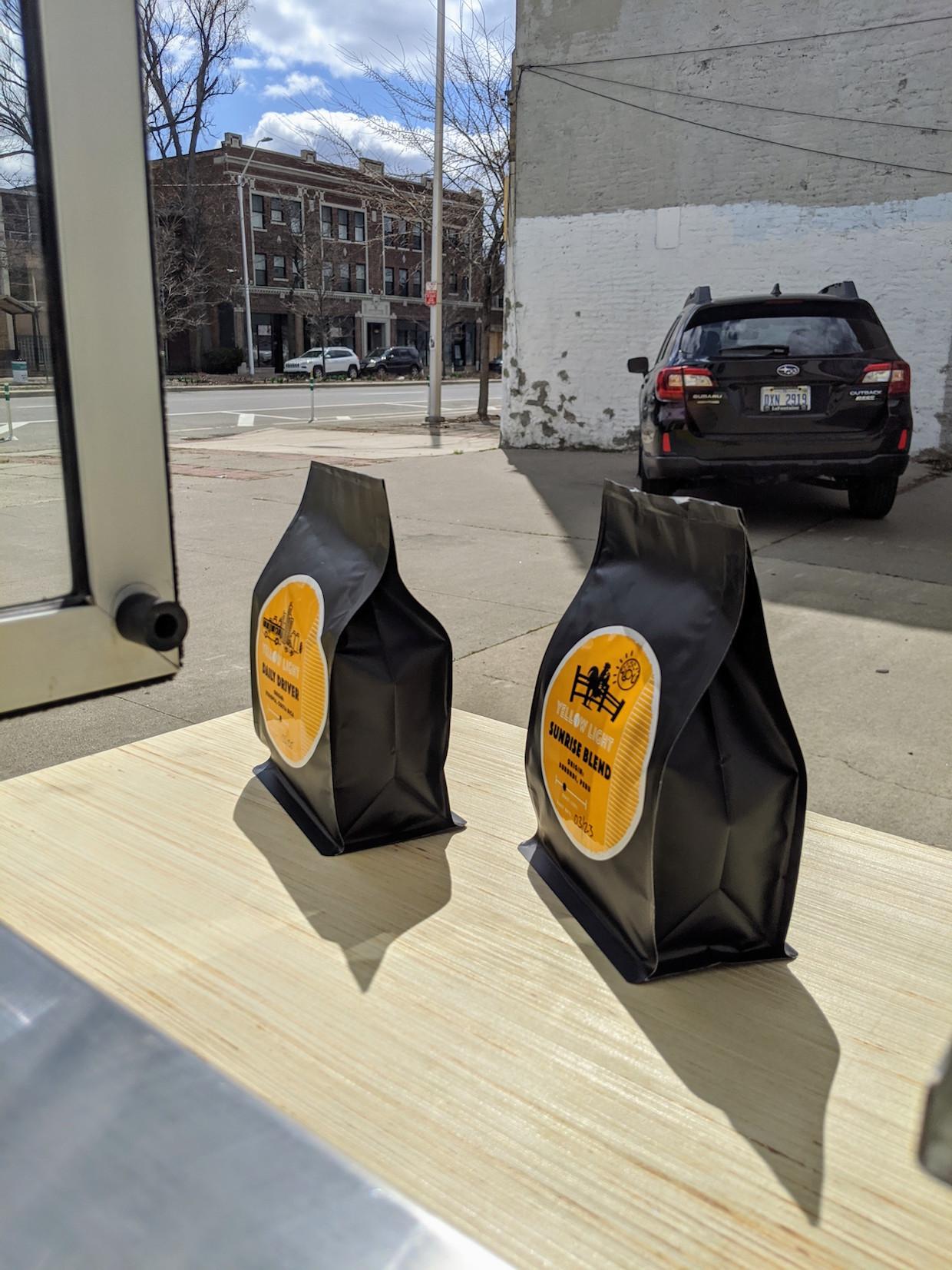 roasted coffee bags
