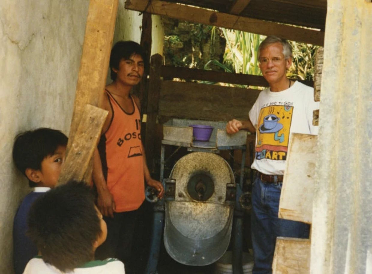 Rick with community corn mill, Oaxaca, Mexico 1999