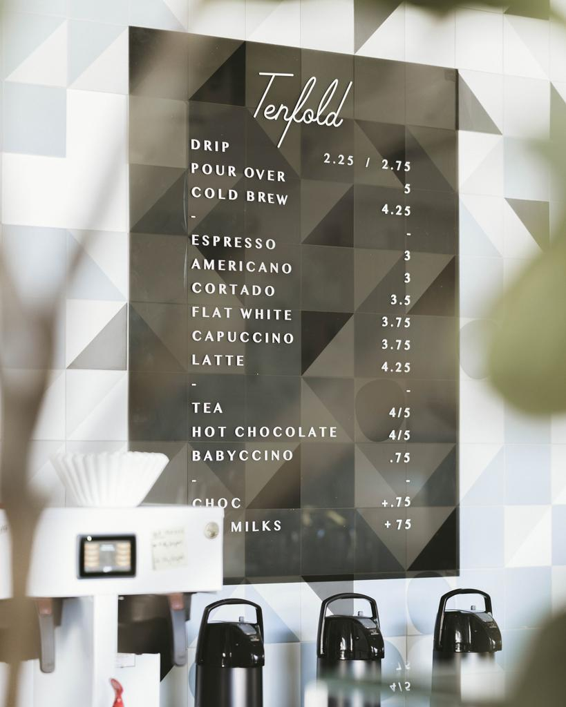 Tenfold coffee menu