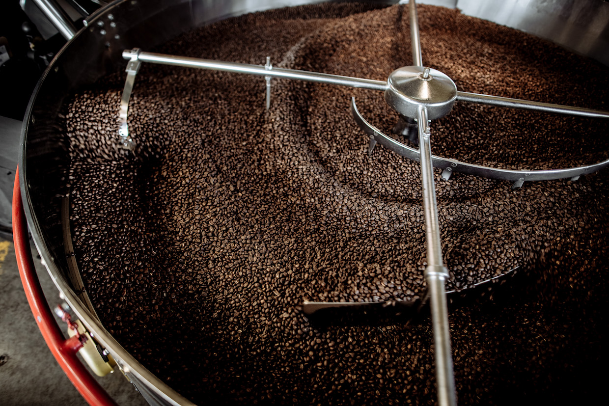 Freshly Roasted Beans in the Cooling Tray_Photo By Ray Siler