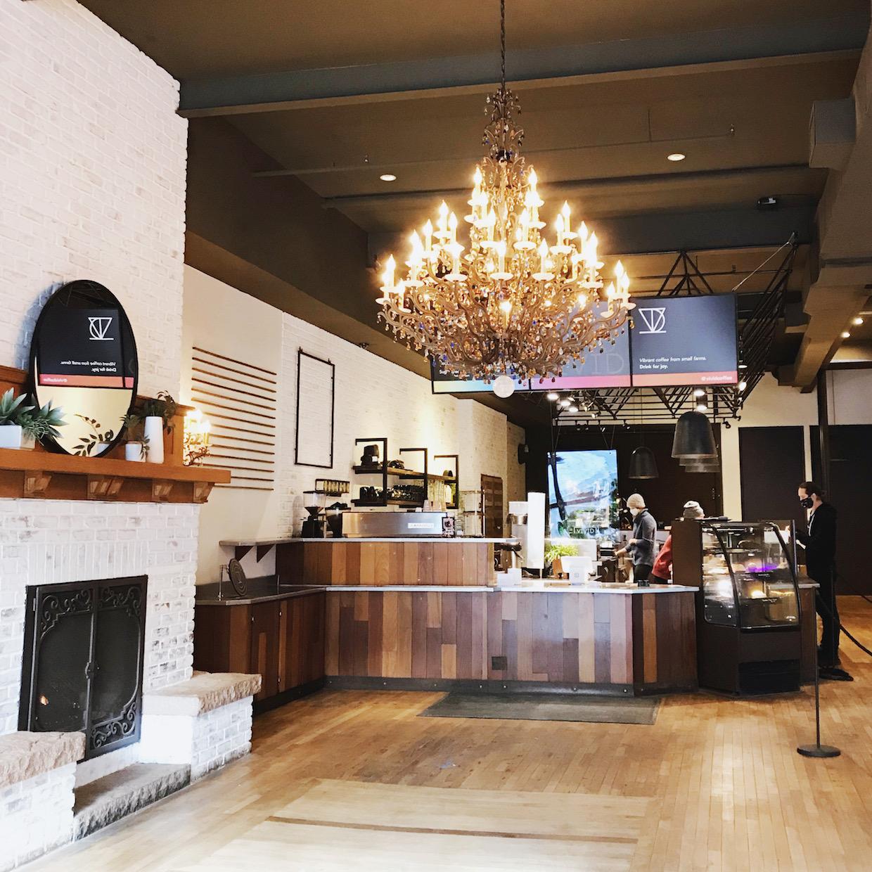 chandelier coffee shop