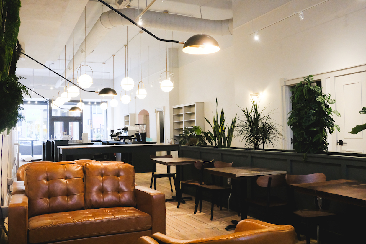 brown leather couches with lighting