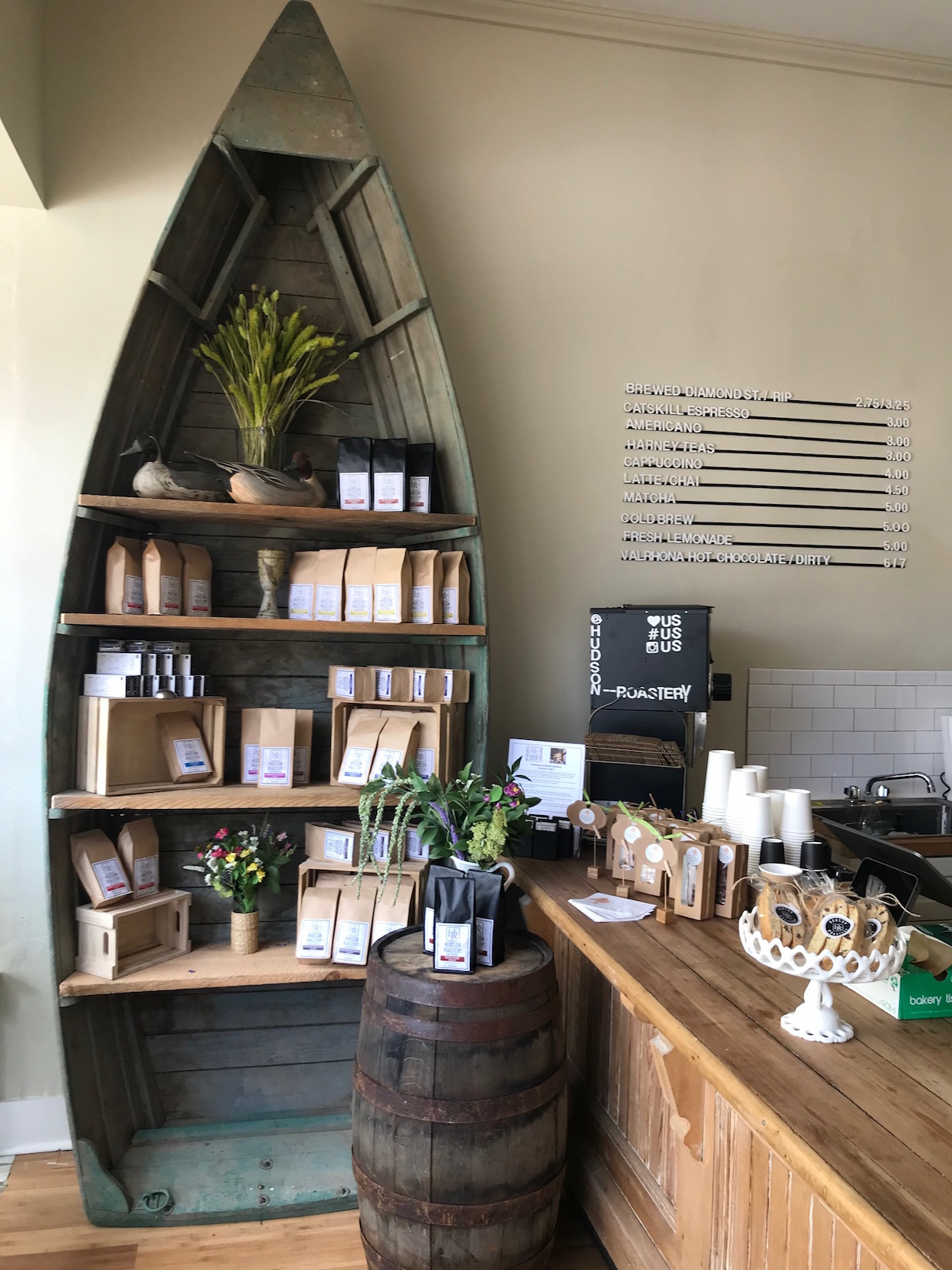 canoe coffee and bookcase