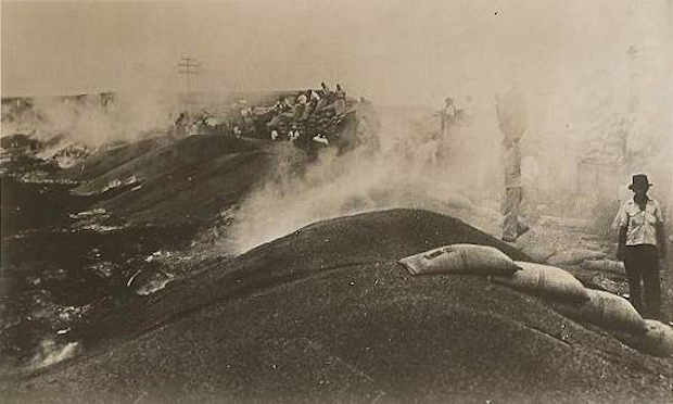 Postal antigua de los años 30 2 - Se descarga café de los trenes y se quema en el puerto de Santos.