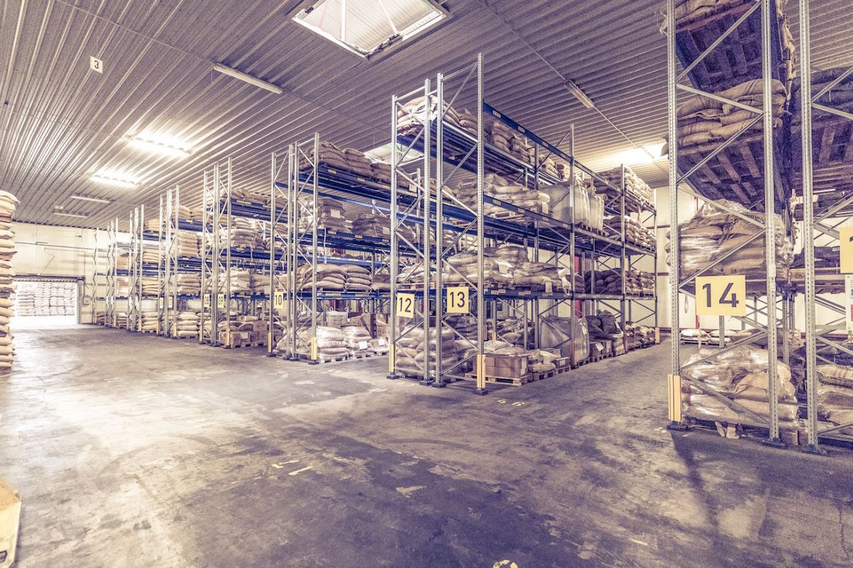 Specialty coffee warehouse rack system at Vollers in Hamburg
